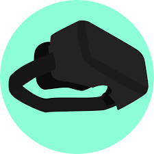 Virtual reality headset inside of a green circle.