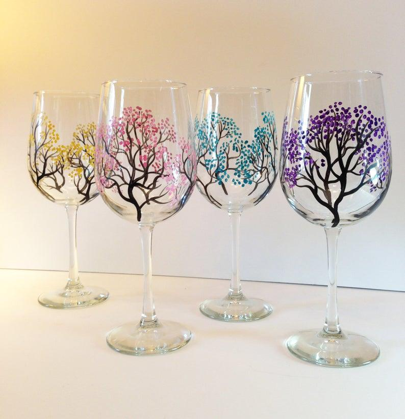 Hand-Painted Wine Glasses at Greene