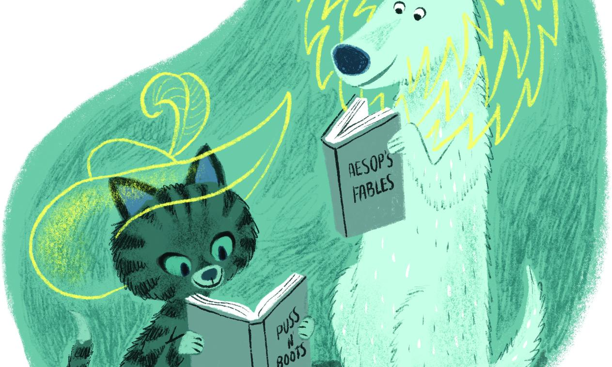 dog and cat reading books