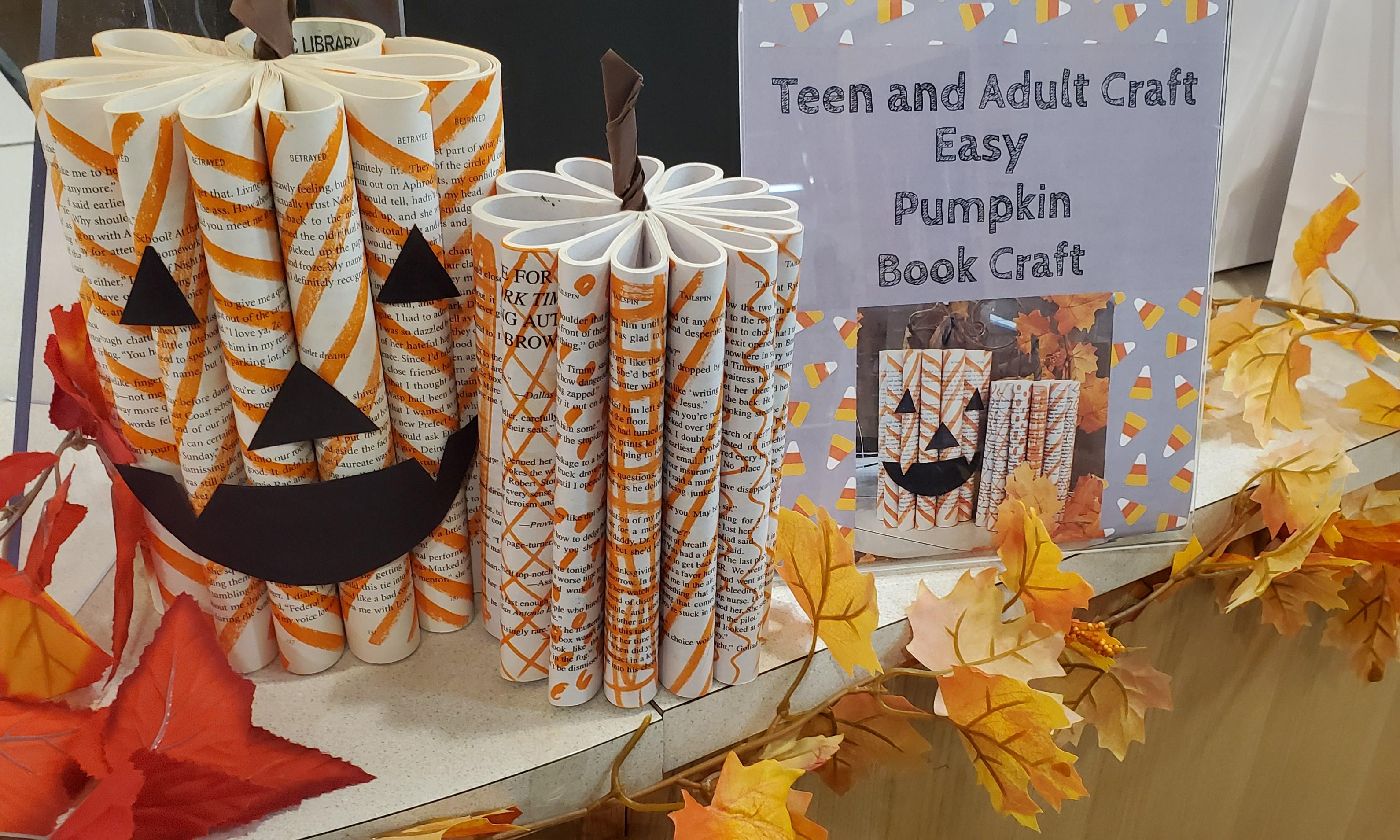 two pumpkins made from books